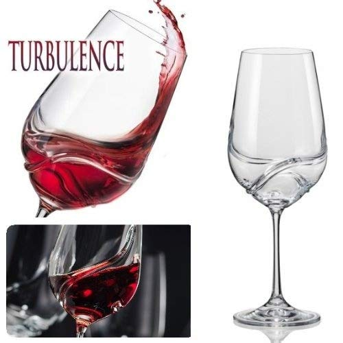 Bar Amigos Pack Of 2 Turbulence Deluxe Bohemian Crystal Wine Glasses Decanting Special Unique Wave Shaped Design For Better Aeration 550Ml/19.3 Ounce Bordeaux