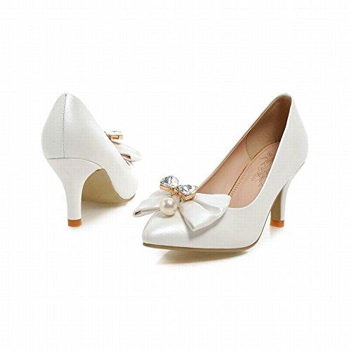 Latasa Femmes Mode Arc Strass Bout Pointu Robe À Talons Hauts Chaussures Chaussures Blanc