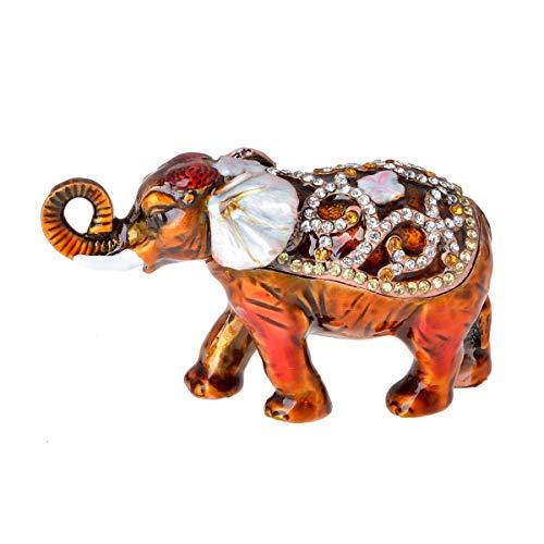 FZJ Handmade Enmeled Elephant Trinket Box with Crystals Hinged Jewelry Holder Small Elephant Figurine | Wedding Gift, Birthday Gift | Elephant Home Decor Unique Gift for Men,Women