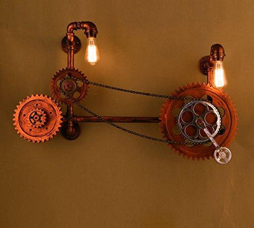 StiefelU LED Wandleuchte nach oben und unten Wandleuchten Bar Wandleuchten bar Bügeleisen restaurant Industrial Gear so alt pipe Wandleuchten, keine Lampe, Schwarz