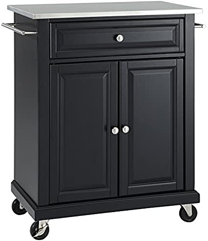 Crosley Furniture Cuisine Kitchen Island With Stainless Steel Top   Black