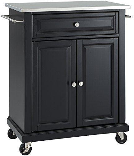 Crosley Furniture Cuisine Kitchen Island with Stainless Steel Top – Black
