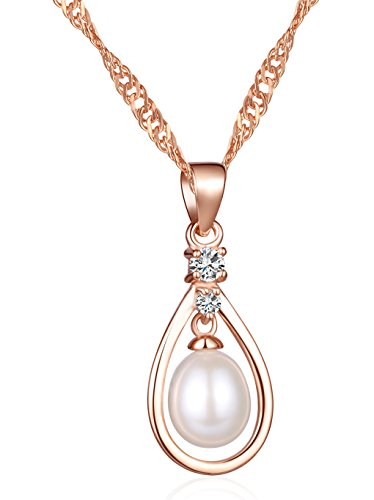 Infinite U Women's Oval Wire Angel Tear 925 Sterling Silver Cubic Zirconia Simulated Pearl Drop-Shaped Pendant (Rose Gold) (Mother Of Pearl Rose Pendant)