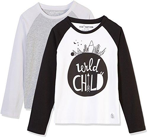 Kid Nation Kids' 2 Pack Raglan Long-Sleeve T-Shirt for Boys Or Girls M Gray Heather/White + White/Black (Heather Kids Eco)