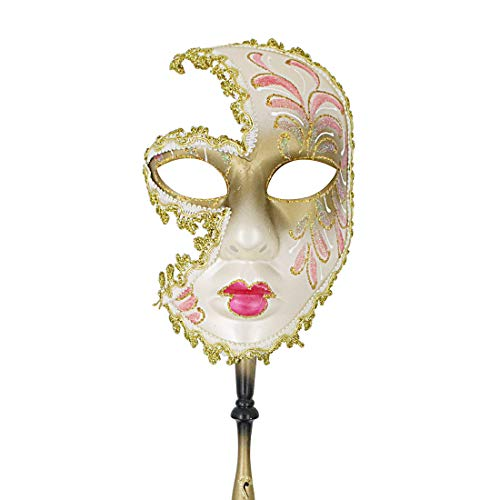Hophen Hand Held Venetian Masquerade Mask on a Stick Halloween Mardi Gras Party Carnival Mask Prom (Beige/Pink) ()