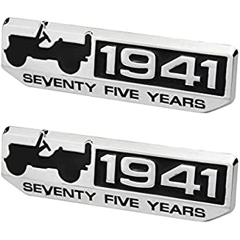 2pcs 75 Year 1941 Anniversary Metal Emblem Badge Nameplate Car Sticker Decal Replacement for Jeep Wrangler Cherokee 2016 Patriot Compass Black Red