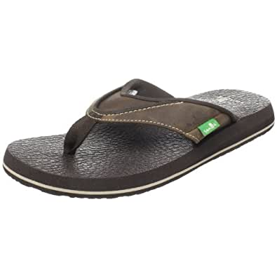 Sanuk Men's Beer Cozy Primo Flip Flop, Brown, 7 M US