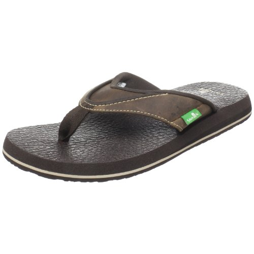 Sanuk Flops Flip Mens - Sanuk Men's Beer Cozy Primo Flip Flop, Brown, 11 M US