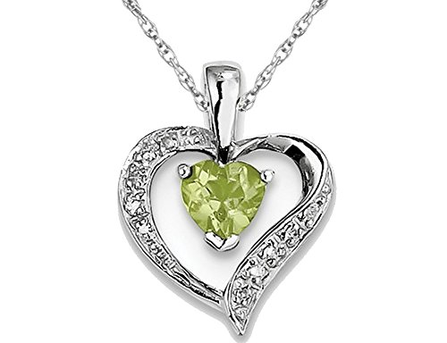 1/2 Carat (ctw) Natural Peridot Heart Pendant Necklace in Sterling Silver with Chain