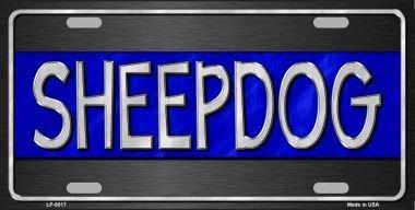 Smart Blonde LP-8017 Sheepdog Blue Line Novelty Metal License Plate