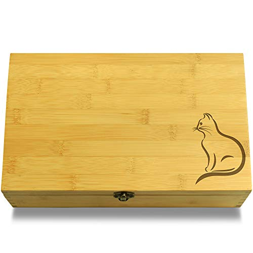 Kitty Treats Cookbook - Cookbook People Cat Calligraphy Pet Multikeep Box - Keepsake Wood Adjustable Organizer