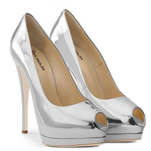 Tacones altos De Las Mujeres a Prueba De agua Plataforma De La Boca De Pescado Espejo De Gran TamañO Peeps Toe Zapatos De Charol White