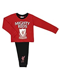Childs Football Liverpool FC 'Mighty Reds' Boys Pyjama Set, 100% Cotton, Kids Lo