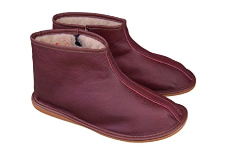 Womens Mens Unisex Natural Leather and Sheep's Wool Lining Slippers Boots Size 3-12 Burgundy / Leather XHGRVhi6f