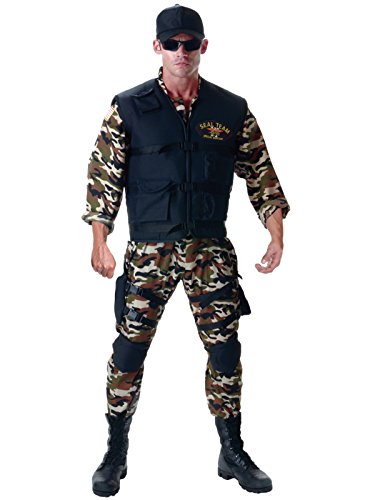 [Mens Navy Seal Costume 5 Piece Set with Camo Jumpsuit and Accessories Sizes: X-Large] (Group Of 5 Halloween Costume Ideas)
