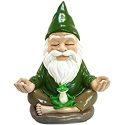 Zen Gnome – Tranquility and Peacefulness for your Fairy Garden and Garden Gnomes by GlitZGlam. 9 Inches Tall Miniature Figurine