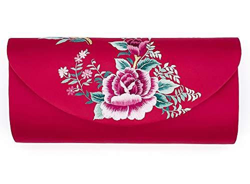 Hand-embroidered Silk Women's Evening Clutch Bag Wedding Purse Bridal Prom Ladies Handbag Party Bag Shoulder Bag (red) ()