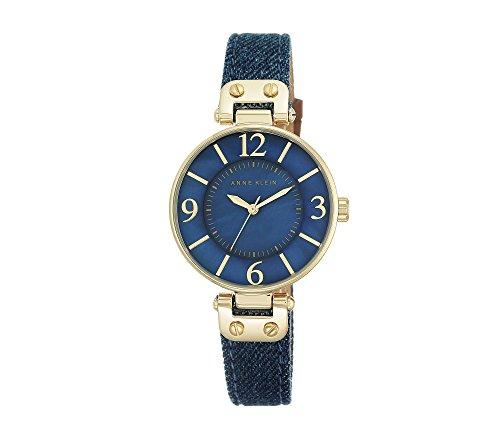 Denim Womens Watch (Anne Klein Women's 10/9168BMDD Gold-Tone and Dark Blue Denim Strap Watch)