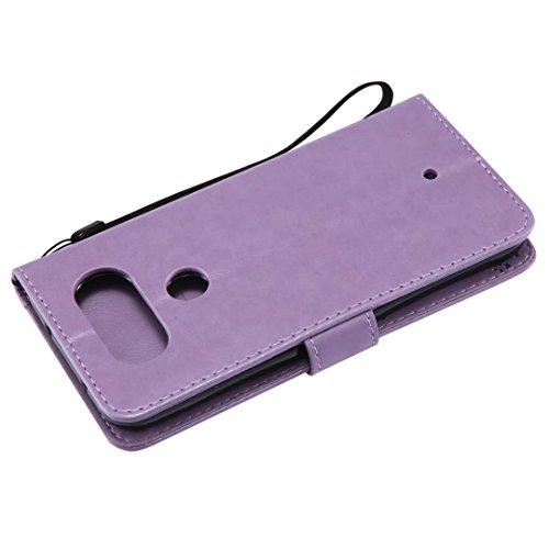 LG Q8móvil, cowx funda de piel sintética para LG Q8funda Árbol para gatos claro púrpura