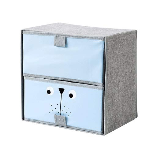 Pinjeer Drawer Fabric Fortable Double Layer Household Storage Box Underwear Cloth Sundries Finishing Boxes Under The Bed Wardrobe Sorting Box (Color : Blue, Size : Two grids) ()