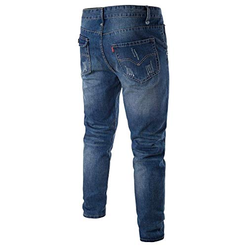 Uomo Cotton Estilo Pantaloni Ssig Dunkelblau Especial Dritti Fit Slim E Morbidi Moda Vintage Comodi Da Jeans 1w5Xzz