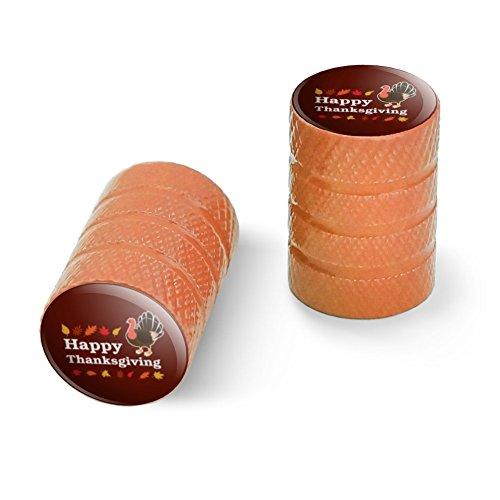 ハッピー感謝祭トルコオートバイ自転車バイクタイヤリムホイールアルミバルブステムキャップ - オレンジ