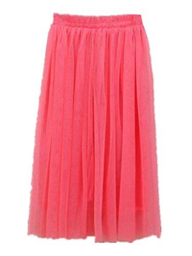 Haililais Femme Tulle Jupe Tendance Jupe Longue BohMe Big Swing Jupe en t Couleur Unie Skirt Lache Femelle Jupe Beau Jupe Watermelon Red