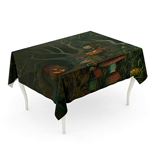 (Tarolo Rectangle Tablecloth 60 x 90 Inch Little Goblins Decorating Their Spooky Forest of Twisted Dead Trees Pumpkin Lanterns for Halloween 3D Digitally Rendered Table)