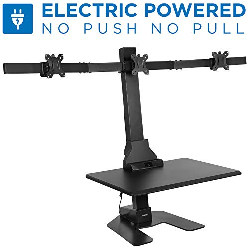 Mount-It Electric Height Adjustable Standing Desk Converter 28 Wide Desktop Sit-Stand Converting Desks with Gas Spring for Home, Office Stand-Up Computer Workstation with Triple Monitor Mount