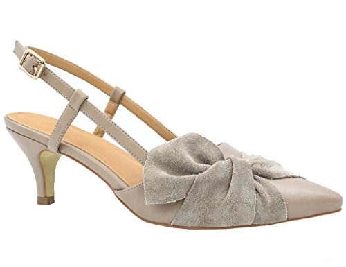 Greatonu Women Shoes Sexy Closed Toe Kitten Heels Beige Comfortable Slingback Dress Pumps Size 7