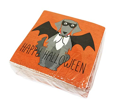 Happy Halloween Bat Dog 40 Pack 3 Ply Novelty Paper Cocktail Beverage Drink Party Napkins