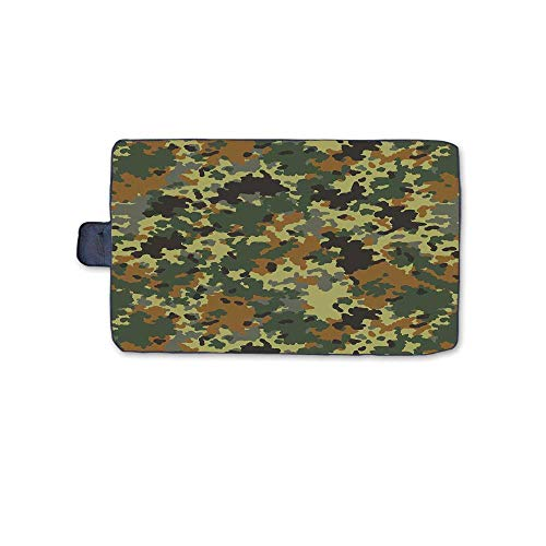 """TecBillion Camo Outdoor Picnic Blanket,Classical Germany Camouflage Pattern Forest Jungle Military Colors Mat for Picnics Beaches Camping,58"""" L x 32"""" W"""