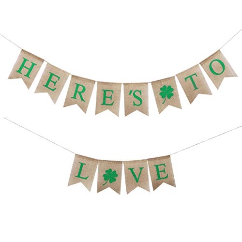 TINKSKY St. Patrick's Day Decorations HERE'S TO LOVE Wedding Burlap Banner Flags Irish Four Leaf Clover Shamrock Banner
