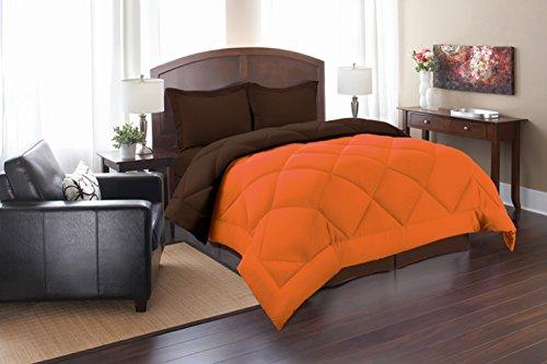 Silky Soft - Goose Down Alternative Reversible 3pc Comforter Set, Full/Queen, Orange/Chocolate
