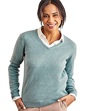 3ec139e71f4 Woolovers Ladies Cashmere and Merino V Neck Knitted Sweater Frosted Green, S