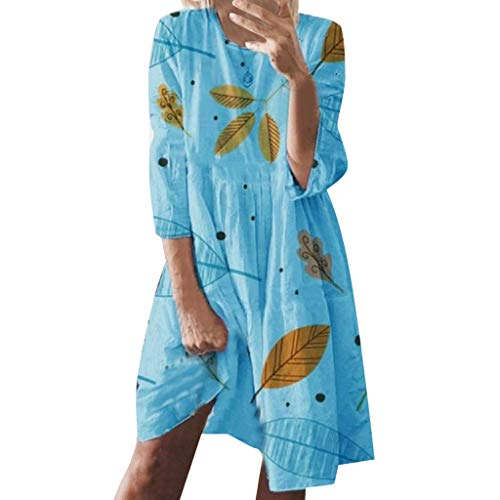 Dress Casual Plain Simple T-Shirt Loose Dress Summer Holiday Style Print Casual Plus Size Ladies Dress (L,Blue)