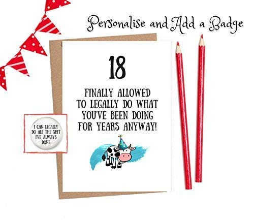 Funny 18th Birthday Cards 18 Card 1 X With Option To Personalise And Add A Matching Badge Amazoncouk Handmade