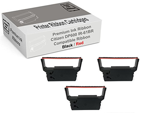 MARS POS Ribbons Compatible with Citizen DP600 IR61BR Ribbon (Red Black, 3 Pack)