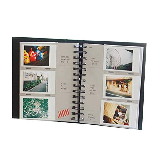1 Book 3 Inch Photo Album Vertical Leather Coil Insert Picture Album Train Tickets Storage Book for Photo Decor (20 Pages/160 Sheets, Black)