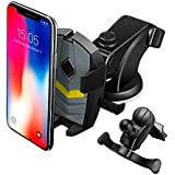 LEEIOO Car Phone Mount, Auto-Grab Function 3 in 1 Dashboard Windshield & Air Vent 360° Rotating Mobile Car Holder Compatible with iPhone 6 7 8 8 Plus X XS Max, Samsung Galaxy Note 9 S9+ etc.