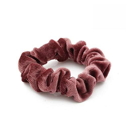 (Velvet Elastic Hair Rope Scrunchie Ponytail Holder Rubber Band Hair Accessory #B (Model - 5pcs pink))