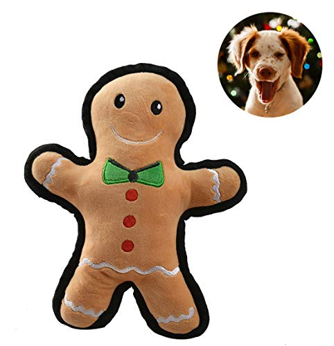 Coppthinktu Gingerbread Man Plush Dog Toy Christmas Plush Dog Toy Holiday Play Pet Gift 10 inches Brown