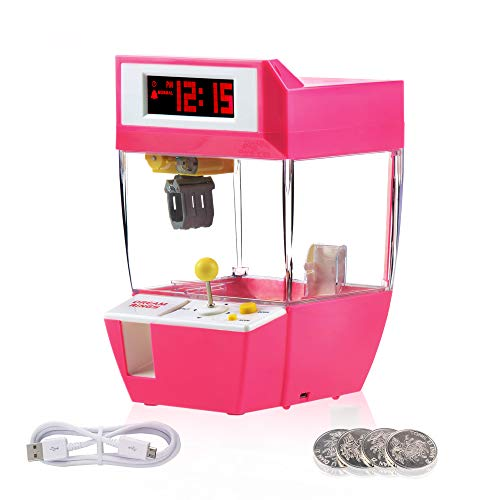 REAMIC Kids Claw Machine Candy Clock Toys Indoor Arcade Game Alarm Clock Boys Girls Music Sounds Coin Prizes