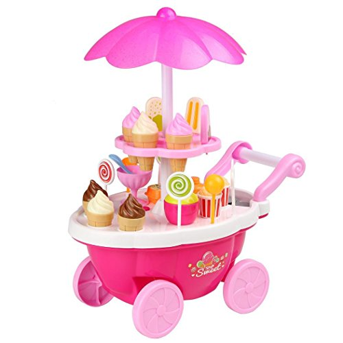 New Year Gifts Baby Girl Toys Set Cake Ice Cream Toys Food Truck Carts for Baby kids with Music Light for Little Girls