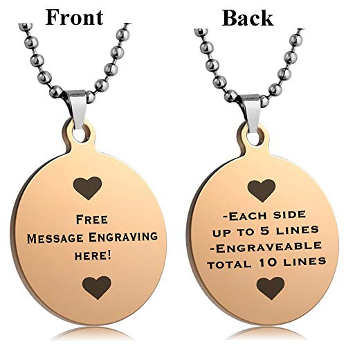 Interway Trading Personalized Regular Size Custom Message Engraved Stainless Steel Necklace Dog Tag Pendant with 24 inch Chain,Velvet Giftpouch and Keyring (Round Rose)