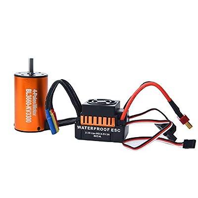 Brushless Motor,Waterproof BL3660 3300KV 4 Poles Brushless Motor W/60A ESC Combo for 1/10 RC Car