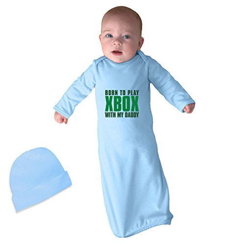 Price comparison product image Born To Play Xbox With My Daddy Infant Baby Rib Layette Sleeping Gown Light Blue Gown & Hat Set