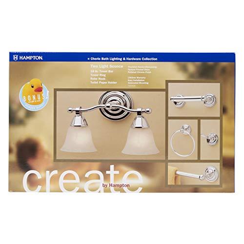 Hampton 7420-625 Cherie Bath Lighting & Hardware Collection Set, Polished Chrome