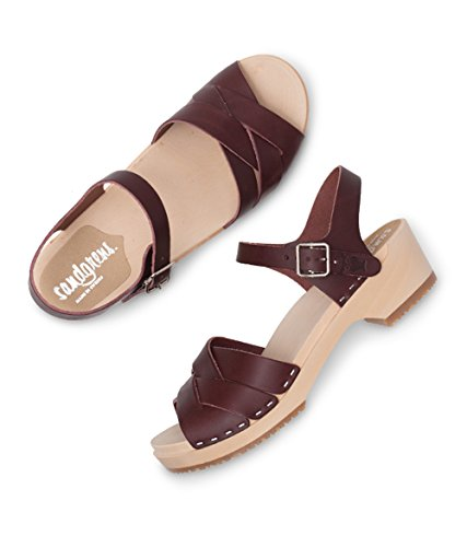 Wooden Sandals Grande Clog Swedish Low Heel Bordeaux Women Sandgrens Rio 1HSnq5x