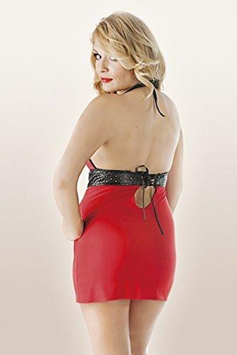 Damen und Rot Blickdicht Chemise Kleid Andalea Dehnbar Rot Dessous Schwarz schwarzes Minikleid Neckholder aXxffU0q
